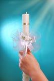 Stearinljus för den första heliga nattvardsgången royaltyfria bilder
