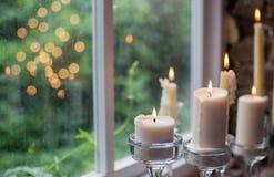 Stearinljus för garnering för vindstilbröllop Royaltyfri Fotografi