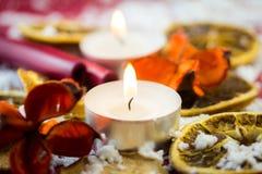 Stearinljus för julteljus Arkivfoton