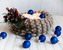 Stearinljus för vinterferie Royaltyfri Fotografi