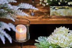 Stearinljus i en glass stearinljus Fotografering för Bildbyråer