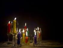 Stearinljus i ett exponeringsglas Fotografering för Bildbyråer