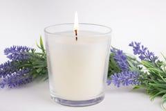 Stearinljus i exponeringsglas på vit bakgrund med lavendel, produktmodell arkivfoton
