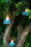 Stearinljus i glass lampor Se mina andra arbeten i portfölj Gifta sig i Monteneg Royaltyfri Foto