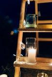 Stearinljus i glass lampor Se mina andra arbeten i portfölj Gifta sig i Monteneg Royaltyfri Bild