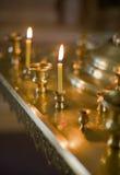 Stearinljus i kristen kyrka royaltyfria bilder