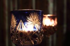 Stearinljus i vinglaset Fotografering för Bildbyråer