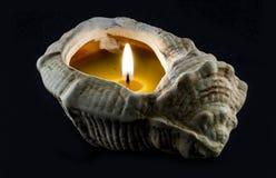 Stearinljus inom skalet arkivbilder