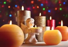 Stearinljus jul, nya Year& x27; s-helgdagsafton Arkivbild