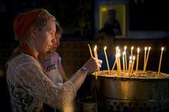 Stearinljus kyrktar Kristi födelse Fotografering för Bildbyråer