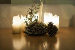 Stearinljus med stor havre och ikebana Royaltyfri Fotografi