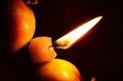 Stearinljus mellan äpplen Arkivbild