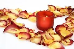 Stearinljus- och blommapetals Arkivfoton