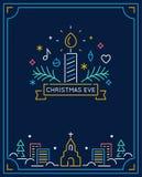Stearinljus och prydnader, vinterstad och kyrkaöversikt Jul Eve Candlelight Service Invitation Linje konstvektor Arkivbild