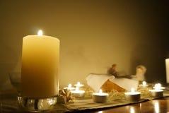 Stearinljus på altaret Royaltyfria Foton