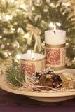 Stearinljus på christmastime fotografering för bildbyråer