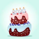 2020 stearinljus p? en festlig kaka Isolerad vektorillustration 2020 f?r lyckligt nytt ?r Glad jul och vektordesign f?r lyckligt  stock illustrationer