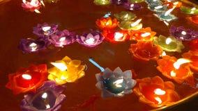 Stearinljus på vatten Fotografering för Bildbyråer