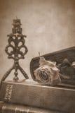 Stearinljus-, rose- och fotoalbum Royaltyfri Foto