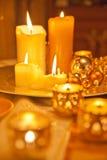 Stearinljus som en julgarnering Fotografering för Bildbyråer