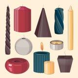 Stearinljus symbolsuppsättning Fotografering för Bildbyråer