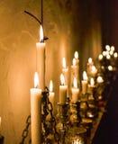 Stearinljus tänd sikt arkivfoton