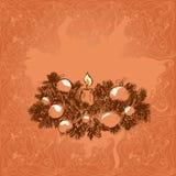 stearinljuset och glass bollar med sprucen fattar Royaltyfri Bild