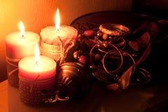 stearinljuset pryder med ädelsten lampa Royaltyfri Bild