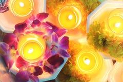 Stearinljuset tända thai kulturblomman går i den Asalha Puja dagen, den Magha Puja dagen, Visakha Puja Day royaltyfri bild