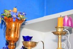 Stearinljusgarnering i köket Royaltyfria Bilder