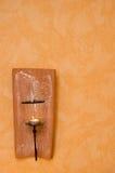 Stearinljushållare på väggen Royaltyfri Fotografi