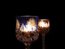 Stearinljusljus i exponeringsglaset Arkivfoton