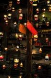 Stearinljusljus, stearinljus gör sammandrag bakgrund Arkivfoto