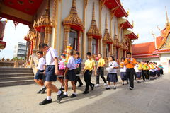Stearinljustraditionsbuddism i Thailand Arkivfoton