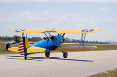Stearman Biplane. In Army Air Force colors royalty free stock image