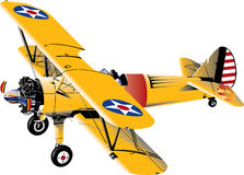 Stearman Plane. Flying in the are with guy piloting Stock Image