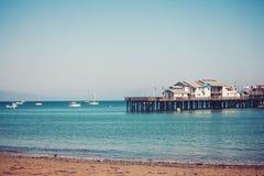 Stearns Wharf pier in Santa Barbara california royalty free stock images