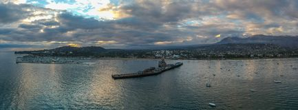Stearns Wharf sunset aerial panorama stock photography