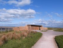 Steart Marshes in Somerset. Steart Marshes, WWT reserve, Mendip hide, Somerset, April 2018 Stock Photography