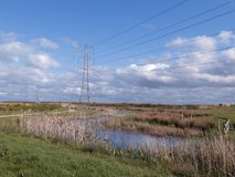 Steart Marshes in Somerset. Steart Marshes, WWT reserve, Somerset, April 2018 Royalty Free Stock Images