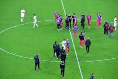 Steaua布加勒斯特的足球运动员赢取了反对迪纳莫队 免版税库存照片