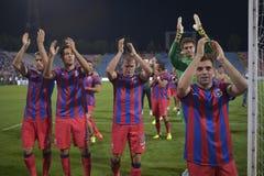 Steaua Bucharest - CFR Cluj. Adrian Popa, Ciprian Tatarusanu, Alexandru Bourceanu, Gabriel Iancu and Mihai Pintili applauding the supporters, at the end of the Stock Images