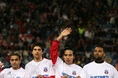 Steaua Bucharest footballers. Petre Marin, Juan Toja, Robinson Zapata, Steaua Bucharest players Stock Photography