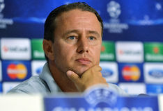 STEAUA BUCHAREST LAURENTIU REGHECAMPF PRESS CONFERENCE Stock Photography