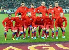 Steaua Bucharest line Up mot VfB Stuttgart royaltyfria bilder