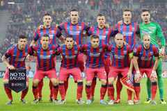 Steaua Bucharest line-up pictured before UEFA Champions League game Royalty Free Stock Image