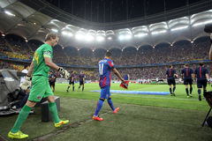 Steaua Bucharest- Ludogorets Razgrad. Steaua Bucharest players entering on the pitch, at the beginning of the football match between Steaua Bucharest and Royalty Free Stock Image