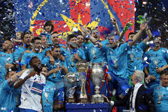 Steaua Bucharest. Players celebrate after winning Romanian Cup Trophy, in a 3-0 win against Universitatea Cluj, at National Arena, in Bucharest, Romania, May 31 Royalty Free Stock Photos