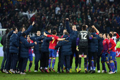 FC Steaua Bucharest- FC Gaz Metan Medias. Steaua Bucharest players cheering, at the end of the football match, counting for the Romanian League One , between FC Royalty Free Stock Image