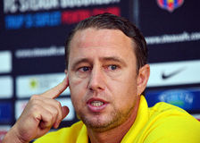 STEAUA BUCHAREST PRESS CONFERENCE BEFORE CL GAME AGAINST DINAMO TBILISI Stock Images